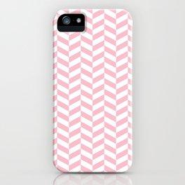 Pink Herringbone Pattern iPhone Case