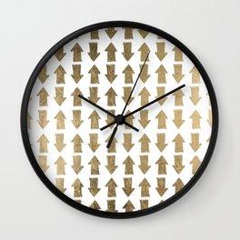 Chic modern faux gold white bohemian arrows pattern Wall Clock