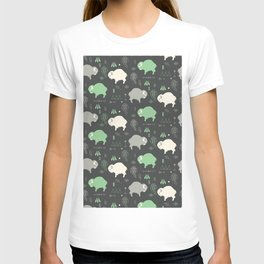 Seamless pattern with cute baby buffaloes and native American symbols, dark gray T-shirt