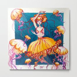 Jelly Mermaid Metal Print