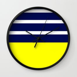 Summer Patio Perfect, Yellow, White & Navy Wall Clock