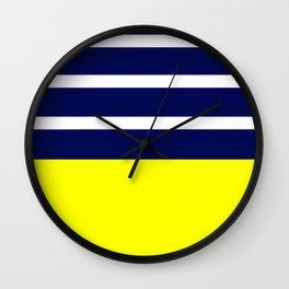 Summer Patio Perfect, Yellow, White & Navy Wall Clock