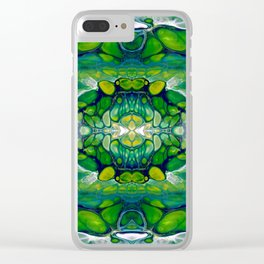 Bright Green Abstract Design Art Clear iPhone Case