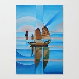 Soft Skies, Cerulean Seas and Cubist Junks Canvas Print