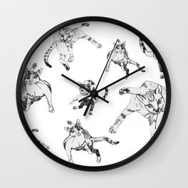 awkward cats Wall Clock