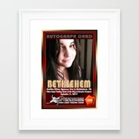 caitlin hackett Framed Art Prints featuring Caitlin Oliver appearance card - King of Arcades World Premiere, Bethlehem PA by The Walter Day Collection