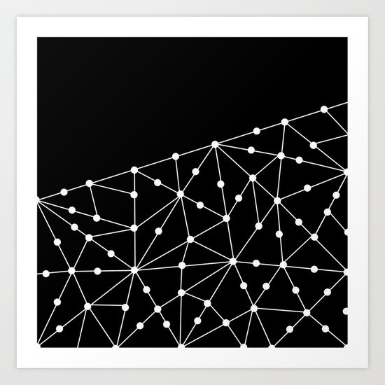 Abstract black and white pattern. Mesh . Art Print