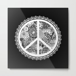 Zen Doodle Peace Symbol Black And White Metal Print