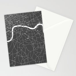 Gray on White London Street Map Stationery Cards
