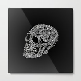 Skull doodle pattern - white on black - trippy art Metal Print