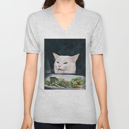Woman Yelling at Cat Meme-4 Unisex V-Neck