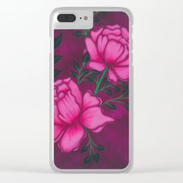 Romantic Peony Clear iPhone Case