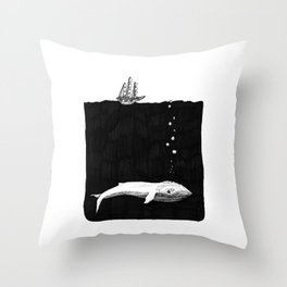 Big Whale, Little Boat Throw Pillow