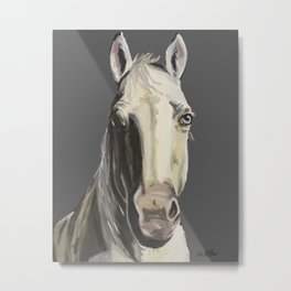 Horse Art, Grey Horse Art, Farm Animal Art Metal Print