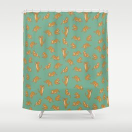 Orange Tabby Tiling Pattern Shower Curtain