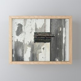 Vintage Latch on Weathered Wood Framed Mini Art Print