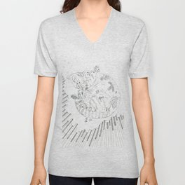 cat and piano Unisex V-Neck