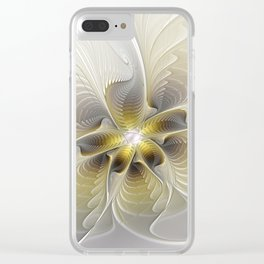 Gold And Silver, Abstract Flower Fractal Clear iPhone Case
