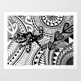 bluering octopus and boxer crab in tribal Art Print
