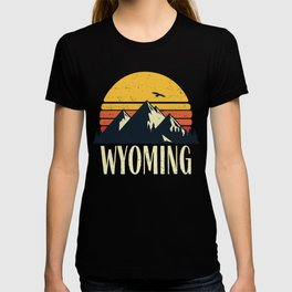 Wyoming Retro Vintage State Mountain Sunset T-shirt