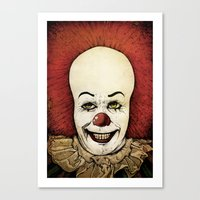 pennywise Canvas Prints featuring It - Pennywise (Color Version) by Sinpiggyhead