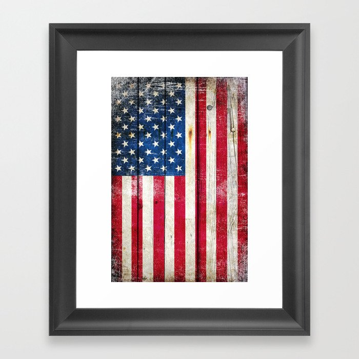 Vintage American Flag On Old Barn Wood Framed Art Print by ...