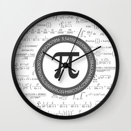The Pi symbol mathematical constant irrational number, greek letter, and many formulas background Wall Clock