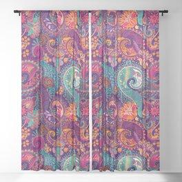 Purple Orange & Teal Floral Paisley Sheer Curtain