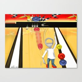 Corky's playing Bowling Canvas Print