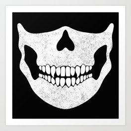 Skull Face Black and White Art Print