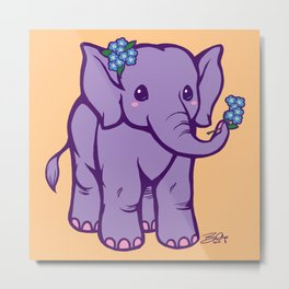 Baby Elephant has Forget Me Nots Metal Print