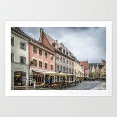 Fussen. Alpine town street view Art Print