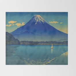 Tsuchiya Koitsu Vintage Japanese Woodblock Print Mount Fuji Throw Blanket