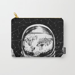 astronaut world map black and white 1 Carry-All Pouch
