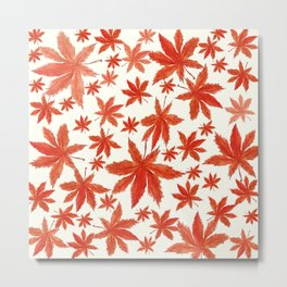 red maple leaves pattern Metal Print