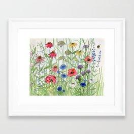 Watercolor of Garden Flower Medley Framed Art Print