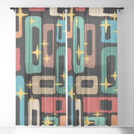 Retro Mid Century Modern Abstract Pattern 223 Sheer Curtain