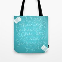 old school Tote Bags featuring Old School by Heather Doyle