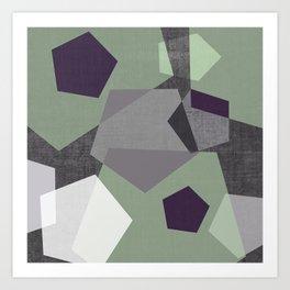 Sekskant + gray Art Print