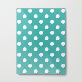 Polka Dots - White on Verdigris Metal Print