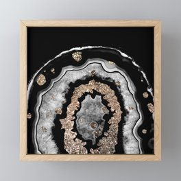 Gray Black White Agate with Gold Glitter on Black #1 #gem #decor #art #society6 Framed Mini Art Print