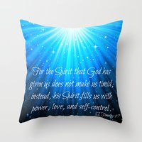 scripture Throw Pillows featuring Scripture II Timothy 1:7  by bjscarrigan