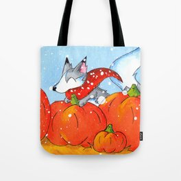 Wolf in the Pumpkin Patch Tote Bag