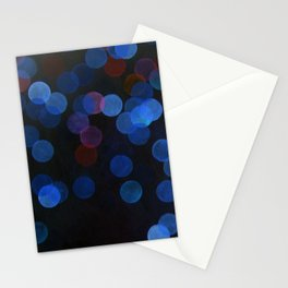 No. 45 - Print of Deep Blue Bokeh Inspired Modern Abstract Painting  Stationery Cards