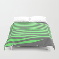 stripes Duvet Covers featuring Green & Gray Stripes by 2sweet4words Designs