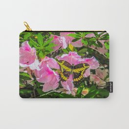 Pink Flowers and the Butterfly Carry-All Pouch
