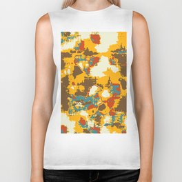 psychedelic geometric painting texture abstract in yellow brown red blue Biker Tank