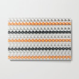White, black and orange spirals Metal Print