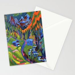 Alpine Sertigweg Vista in Summer mountain landscape by Ernst Ludwig Kirchner Stationery Cards
