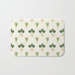 Modern ivory green tropical cheese monster leaves floral Bath Mat